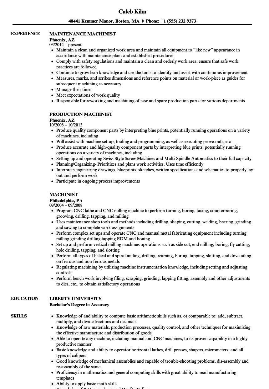 machining resume example