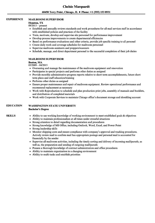 mailroom assistant resume sample