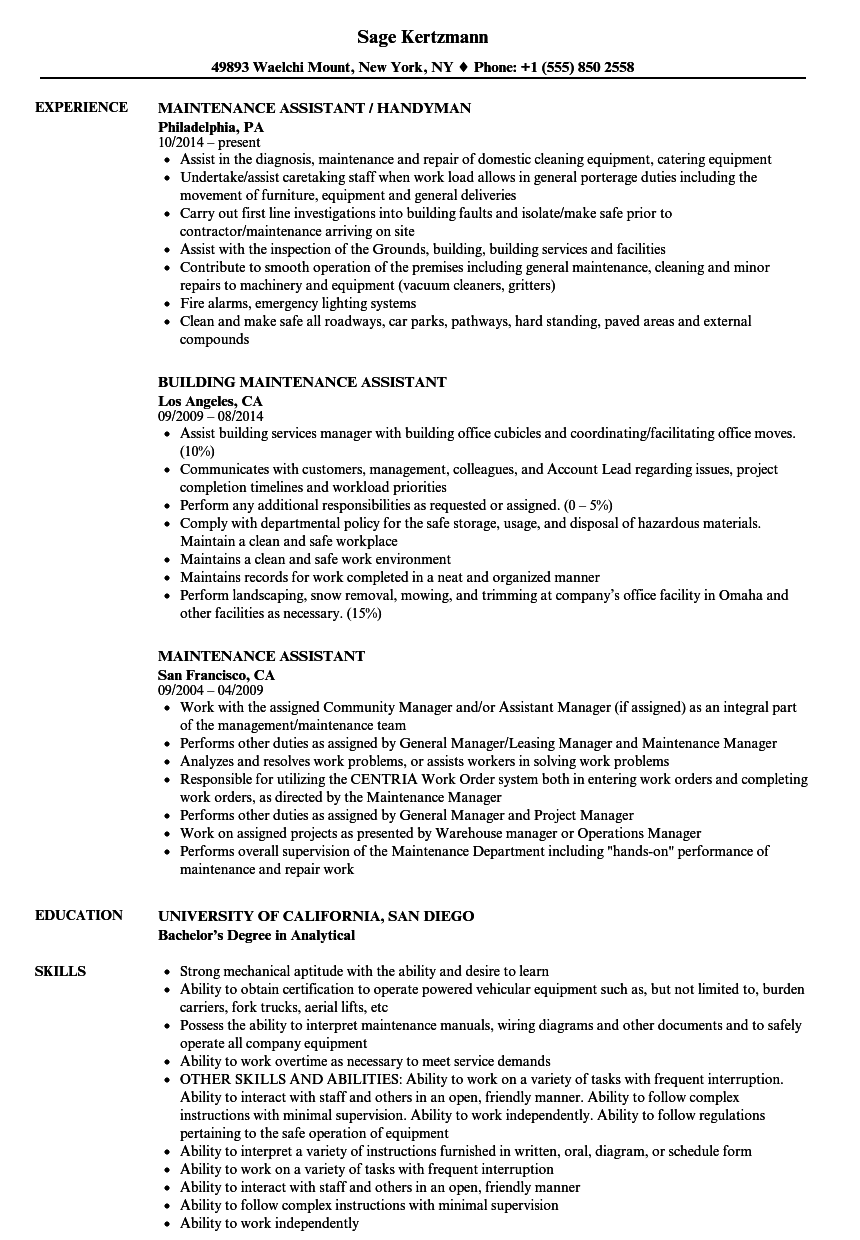sample resume maintenance assistant