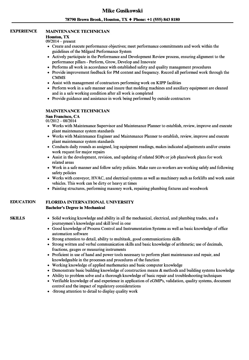 lead service technician sample resume