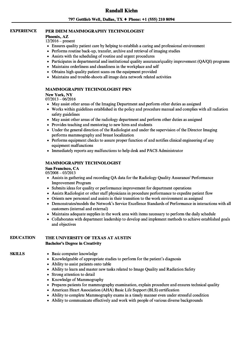 mammography resume samples