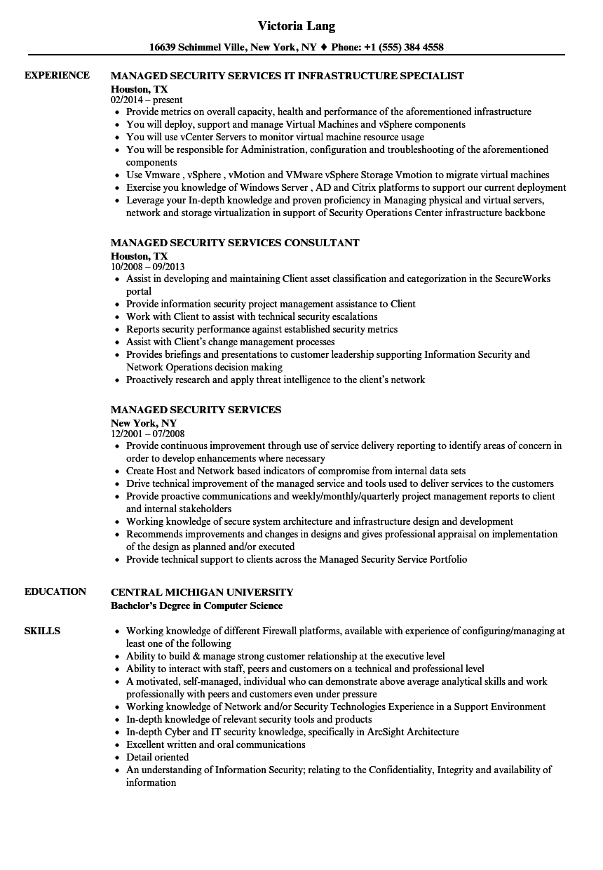 managed service provider resume examples
