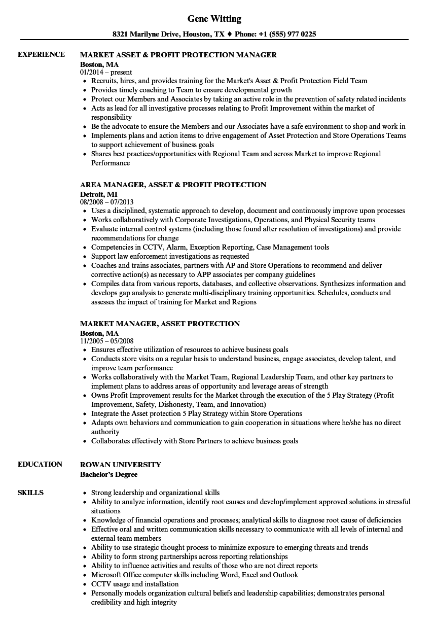 asset protection resume examples