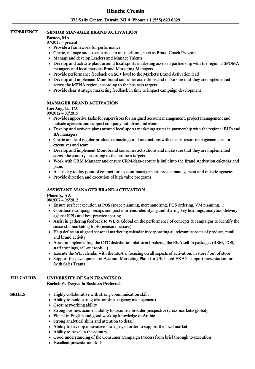 brand management resume examples