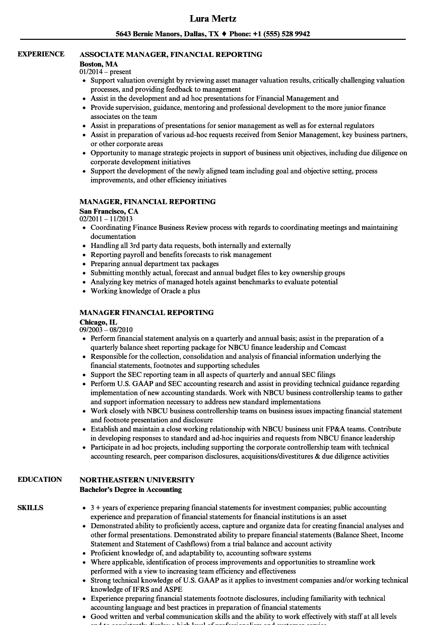 sec reporting resume sample