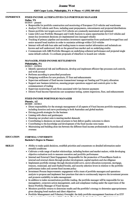resume portfolio sample