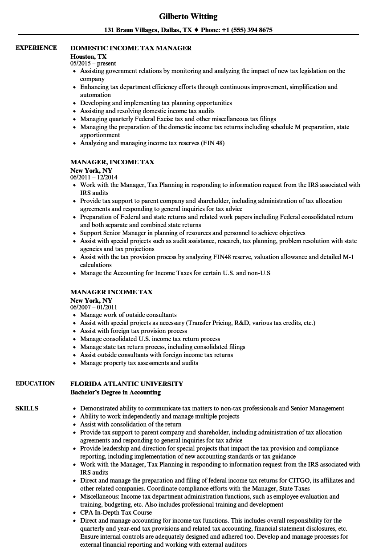 tax supervisor resume sample