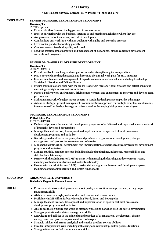 leadership experience resume sample