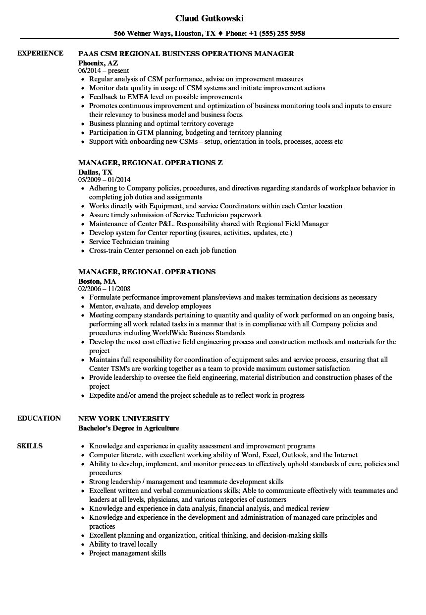 regional operations manager resume sample