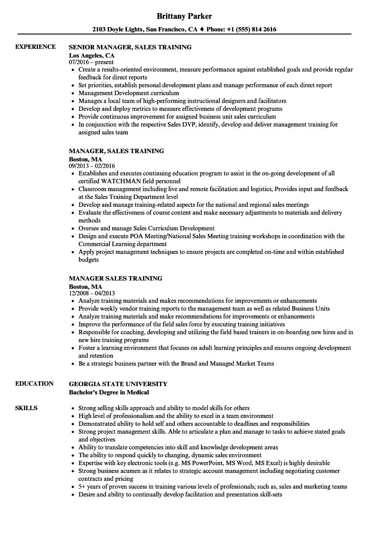 sales training manager resume sample