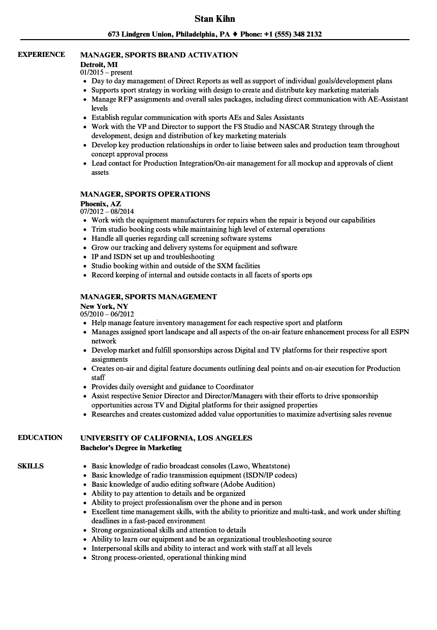 broadcast general sales manager resume sample