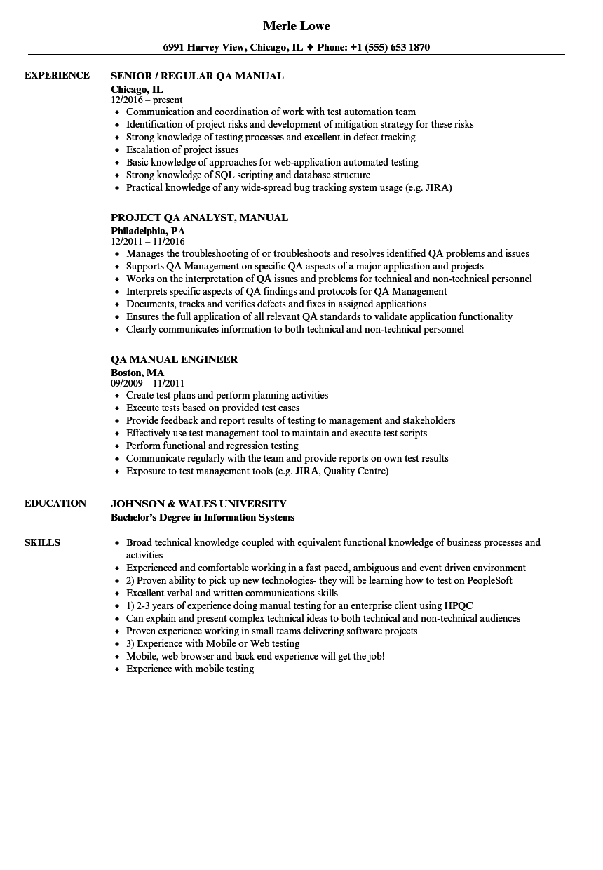 resume sample for qa engineer