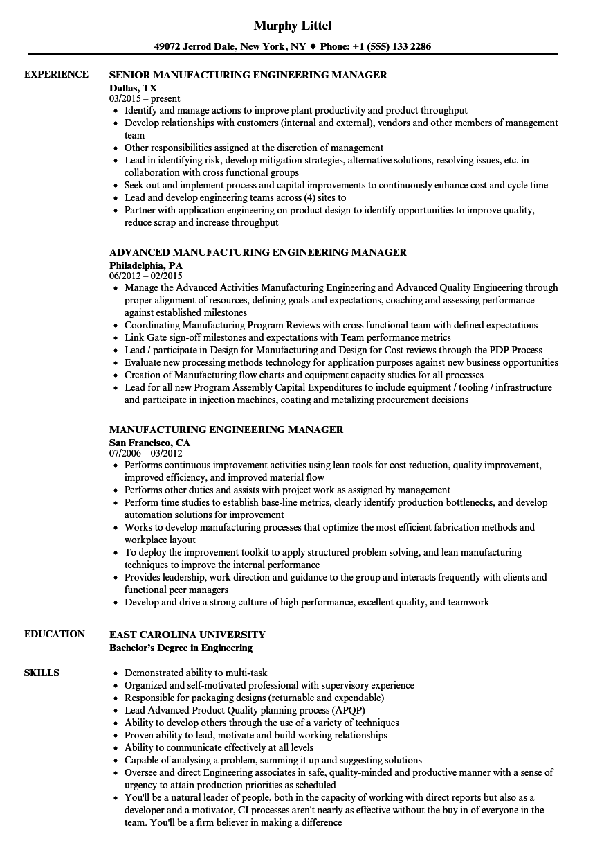 resume sample for manufacturing supervisor