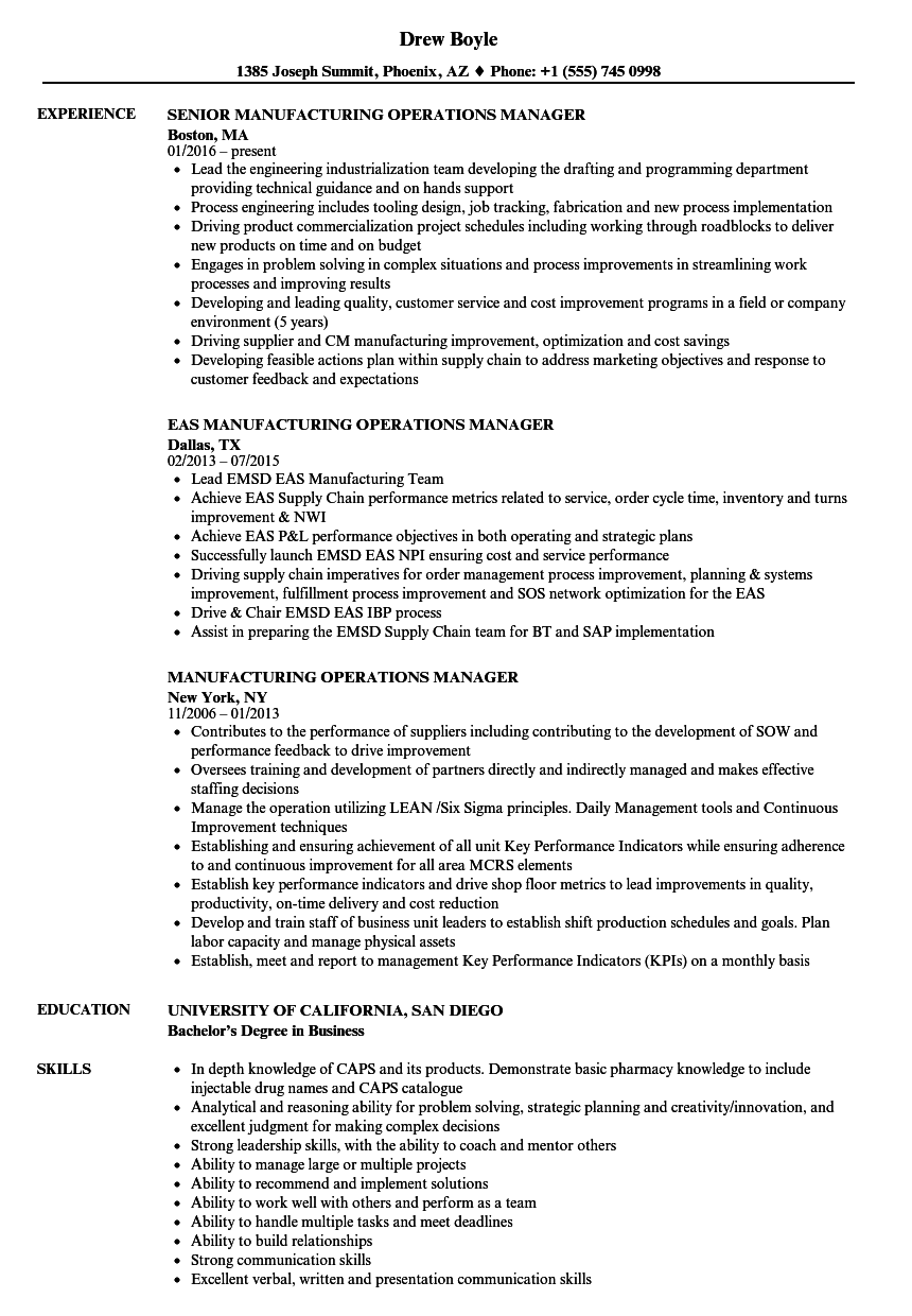 lean manufacturing sample resume