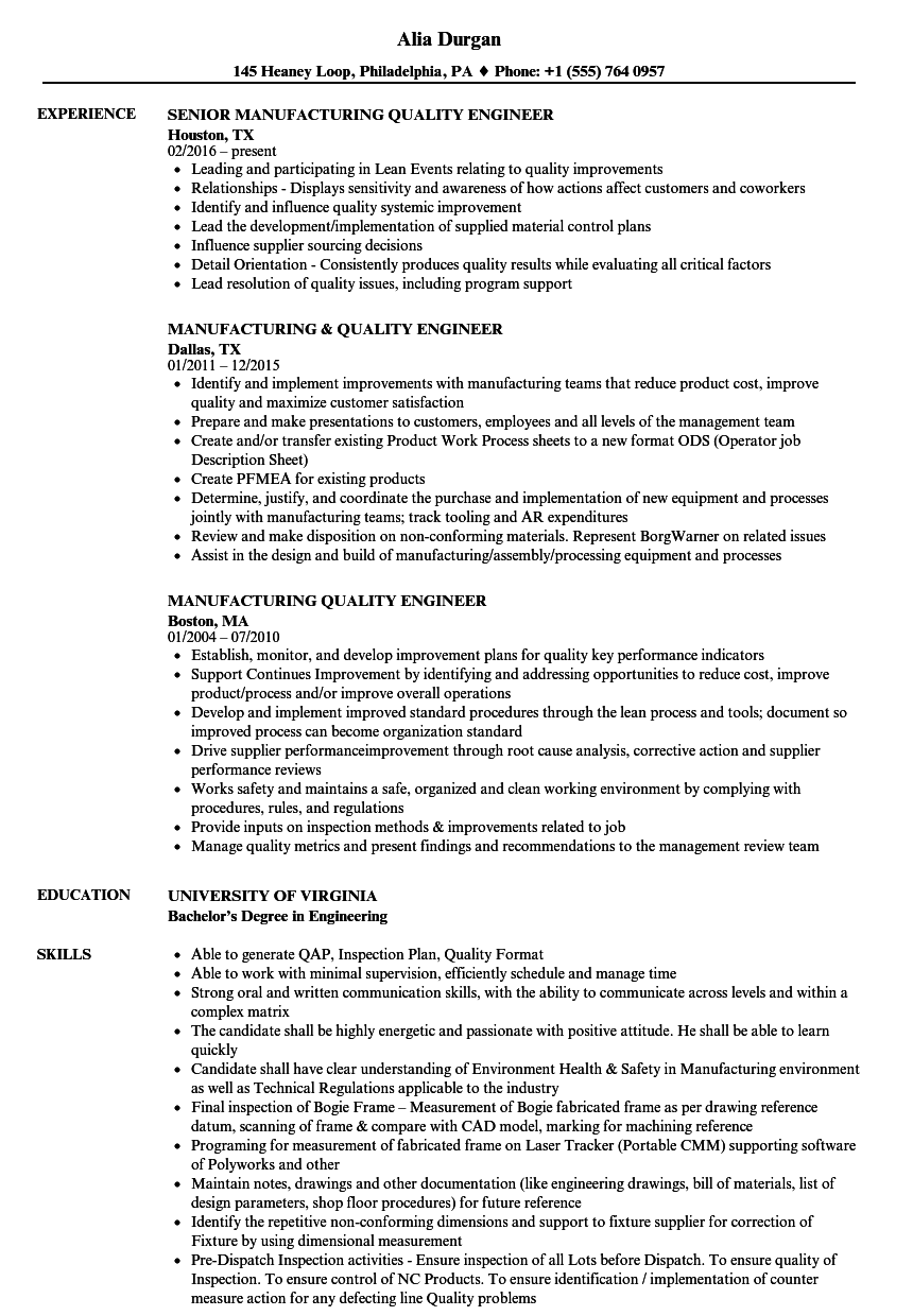 resume for process quality assurance