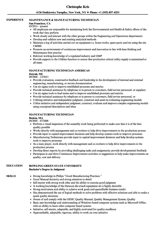 manufacturing maintenance technician resume sample