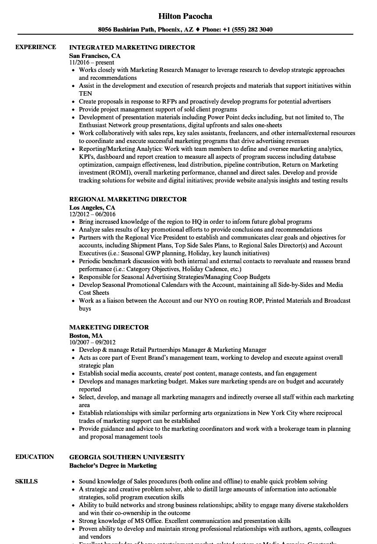 global marketing director resume samples