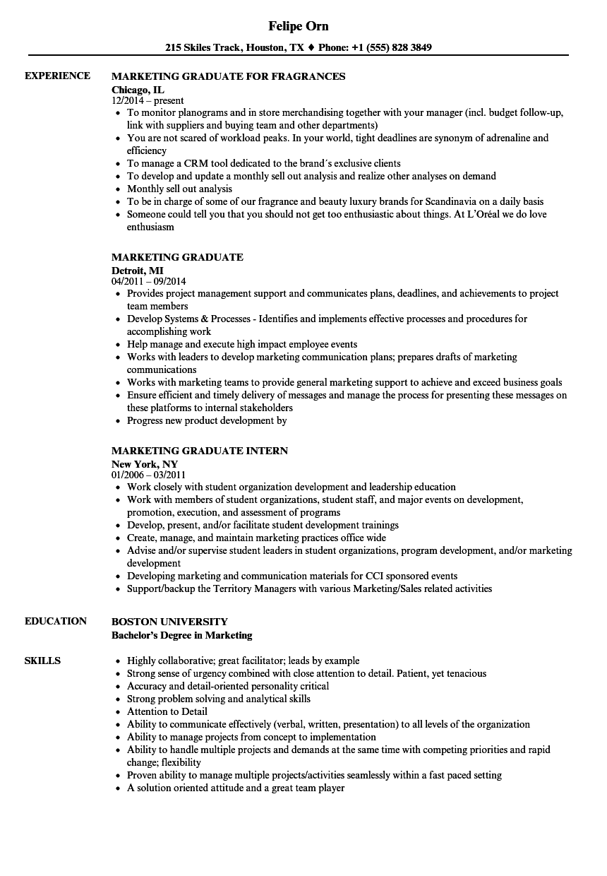 graduate cv example marketing