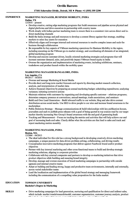 agriculture marketing resume sample