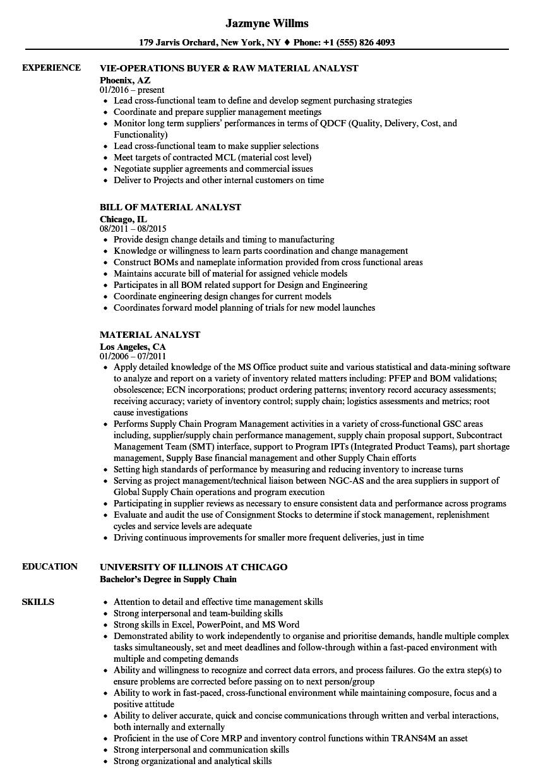 material analyst resume sample