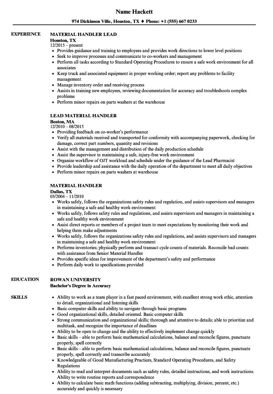 material handler job description for resume