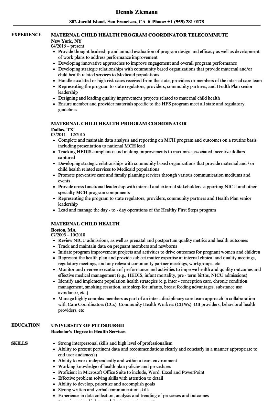 child care coordinator resume sample