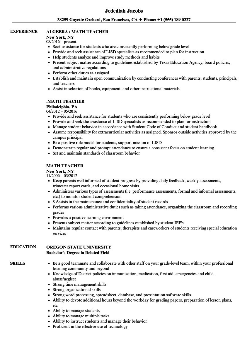 mathematics resume example