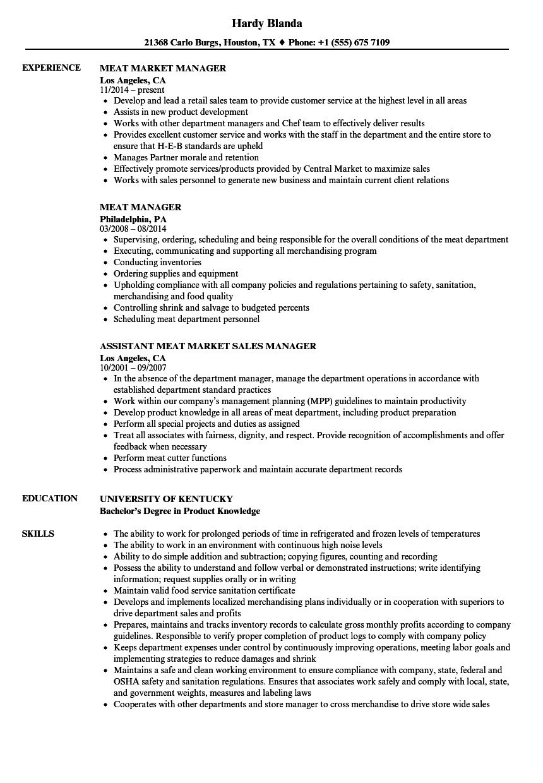 butcher resume template