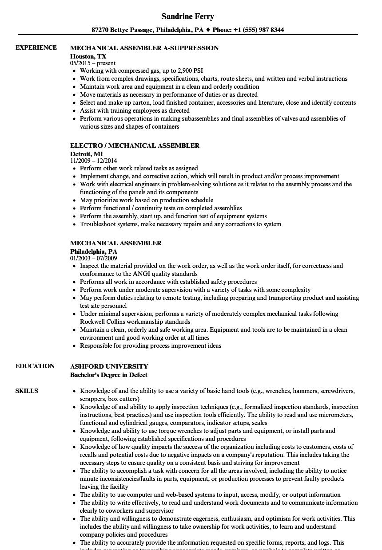 mechanical assembler resume template