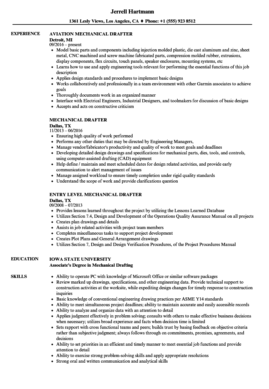 entry level drafter resume sample