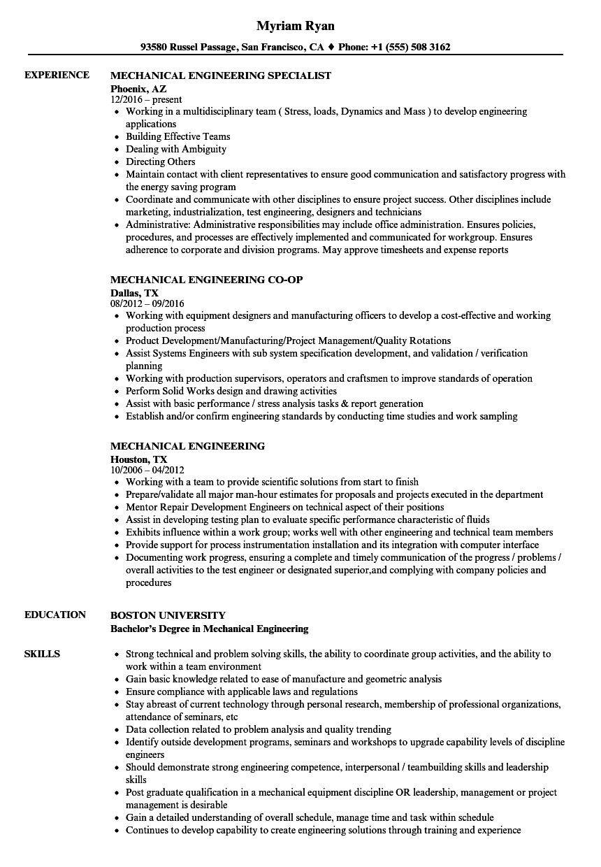 sample mechanical engineering resume internship