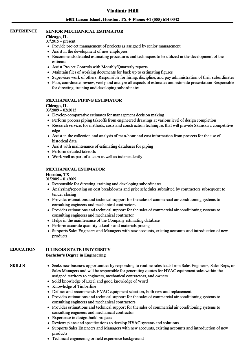 mechanical piping engineer resume sample