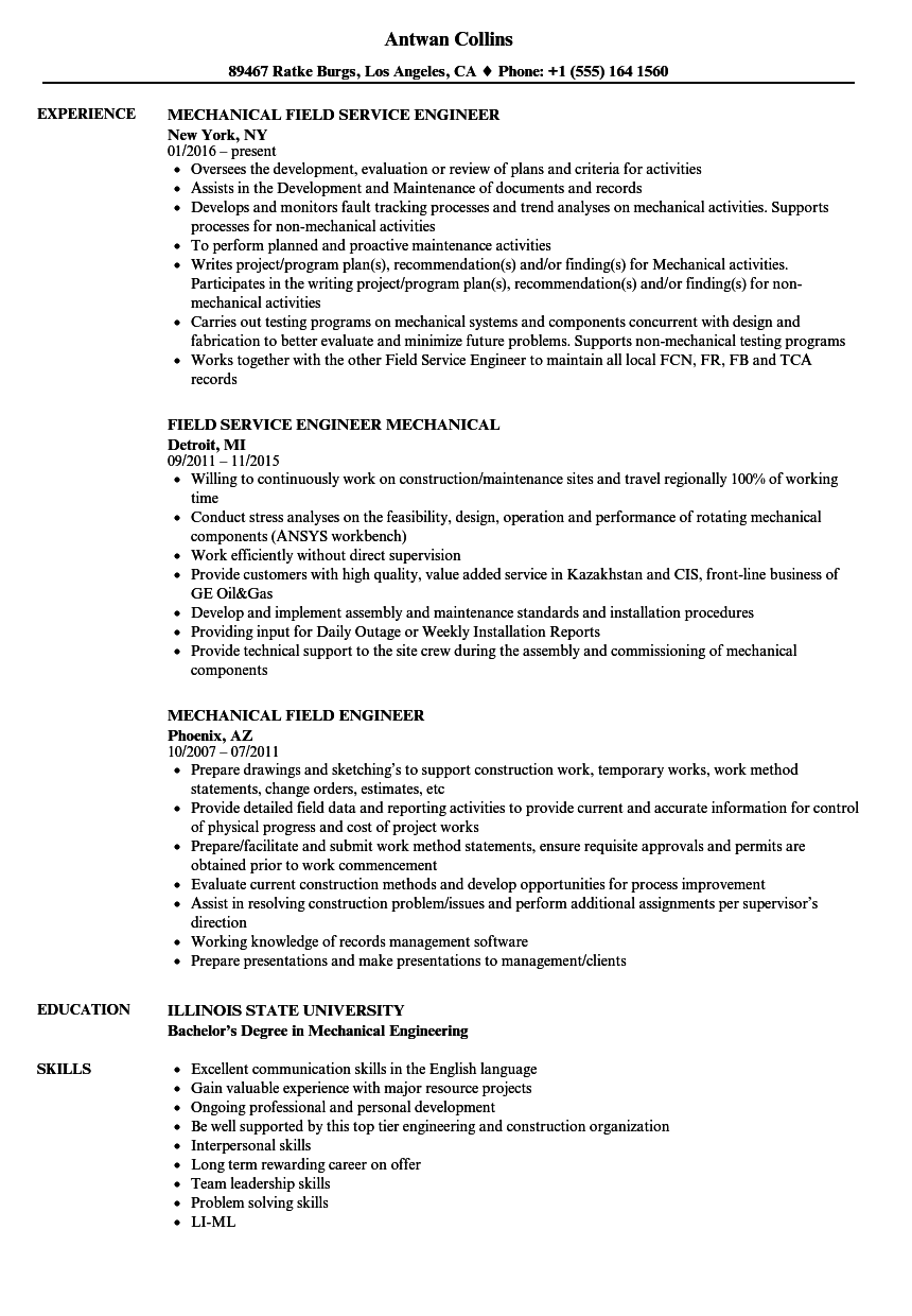 field support engineer resume sample