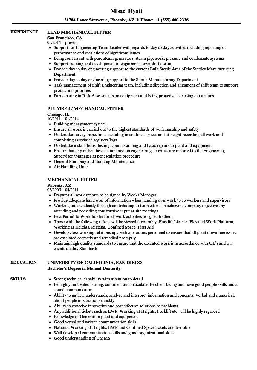 hd fitter resume example