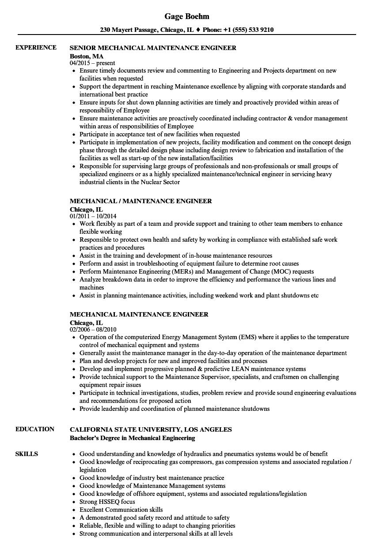 process plant mechanical maintenance engineer sample resume