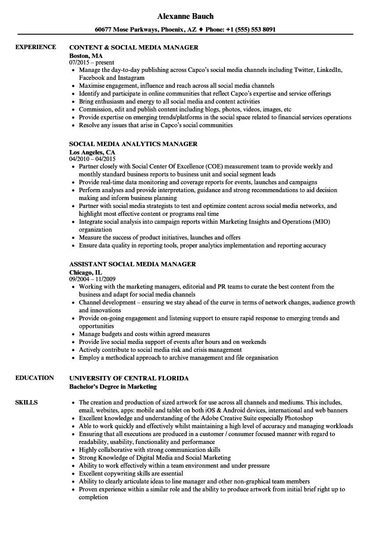 social media marketing resume skills
