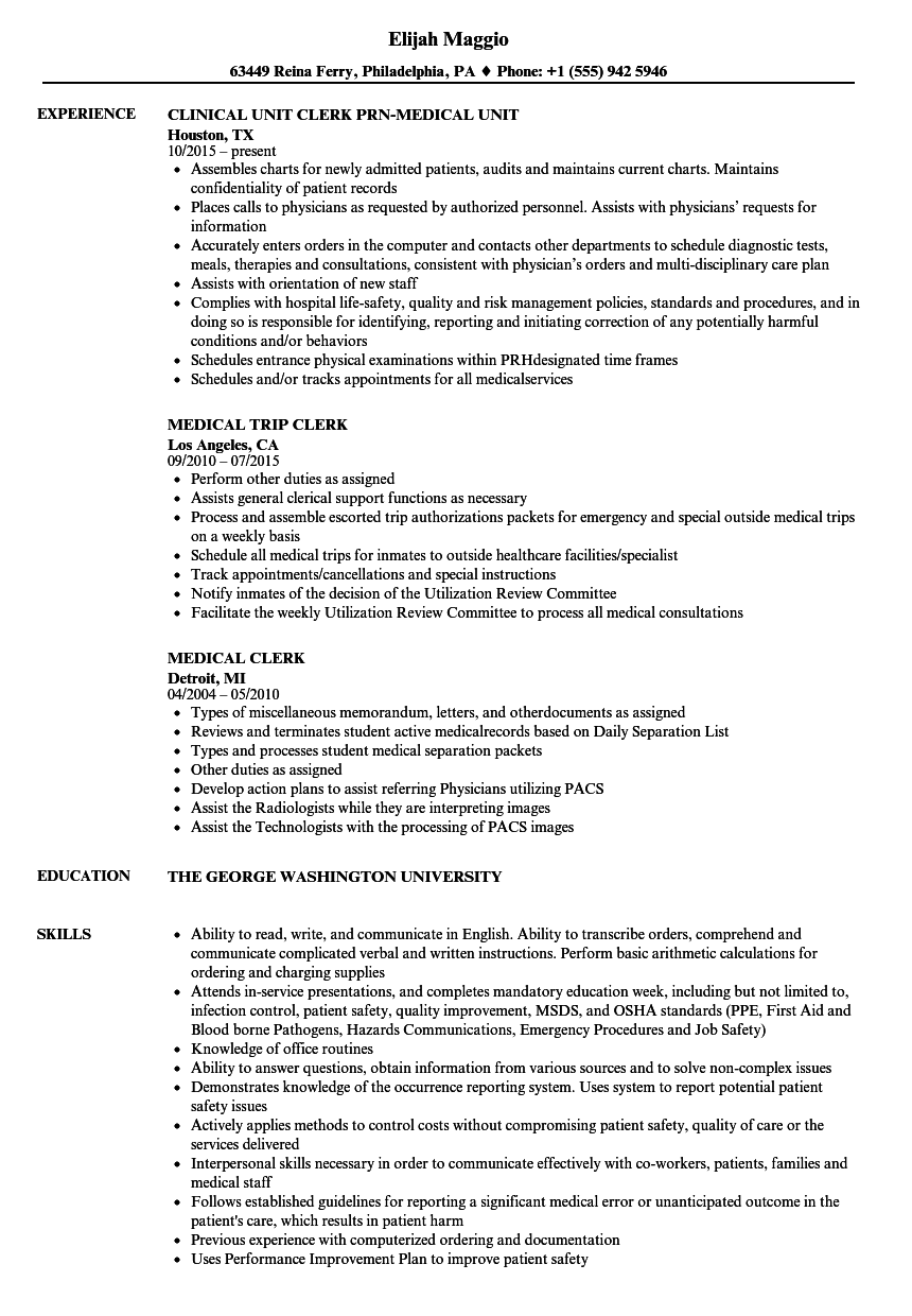 medical clerical resume examples