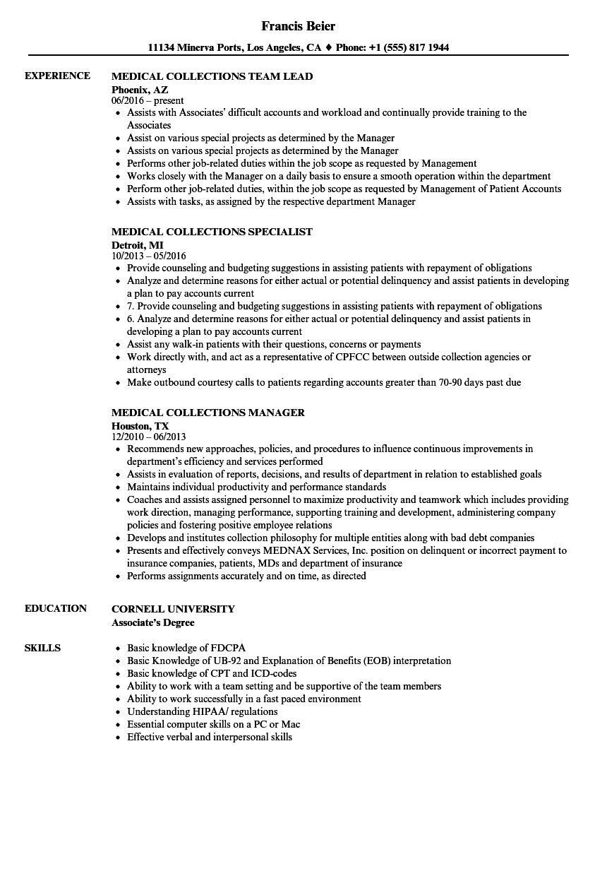 medical collections specialist sample resume