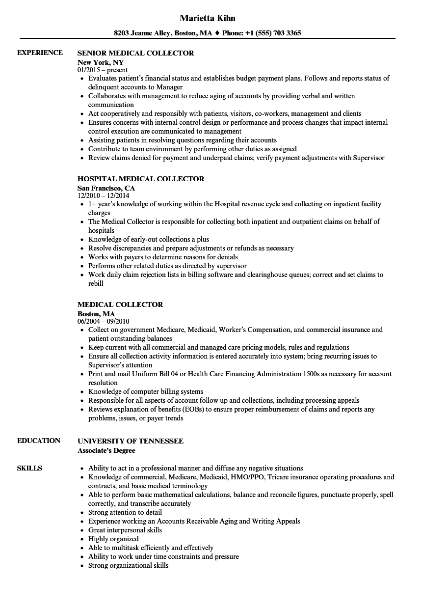 medical claims collector resume examples
