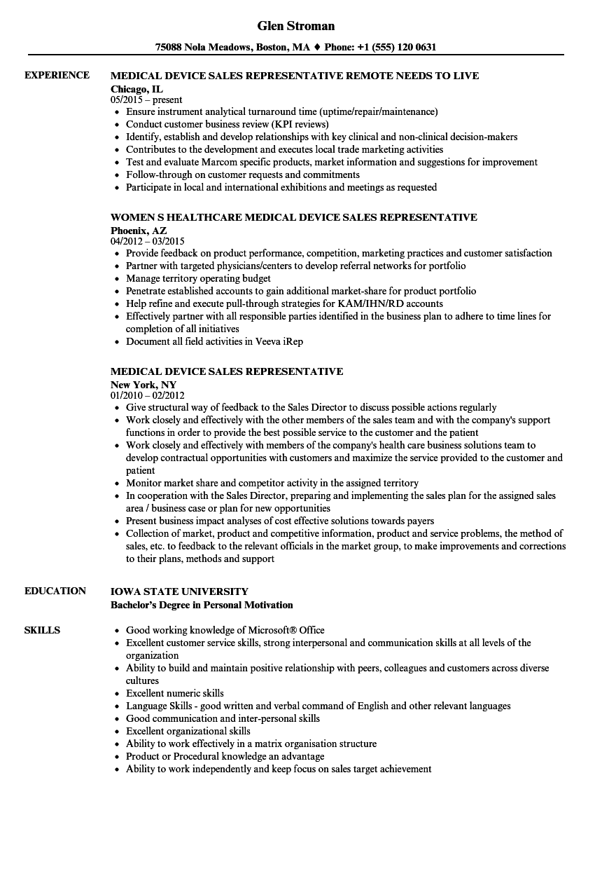 resume examples for medical device sales