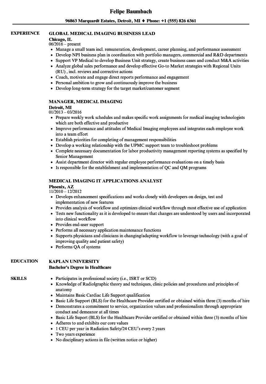 imaging assistant resume samples