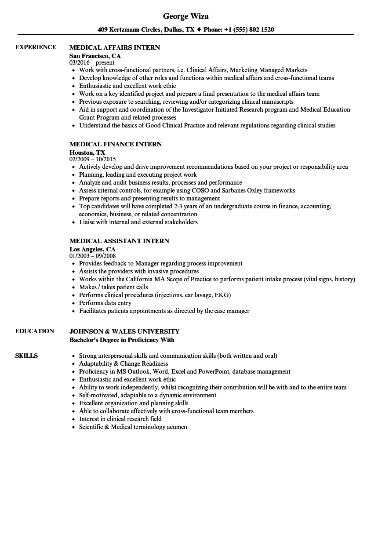 resume for healthcare internship