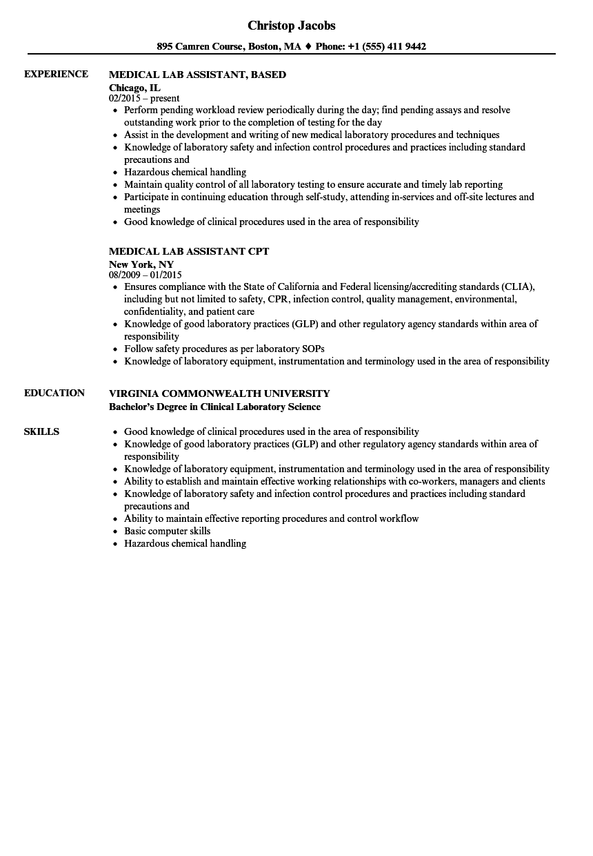 sample resume for lab assistant