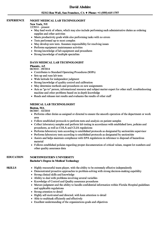 technologist medical resume samples