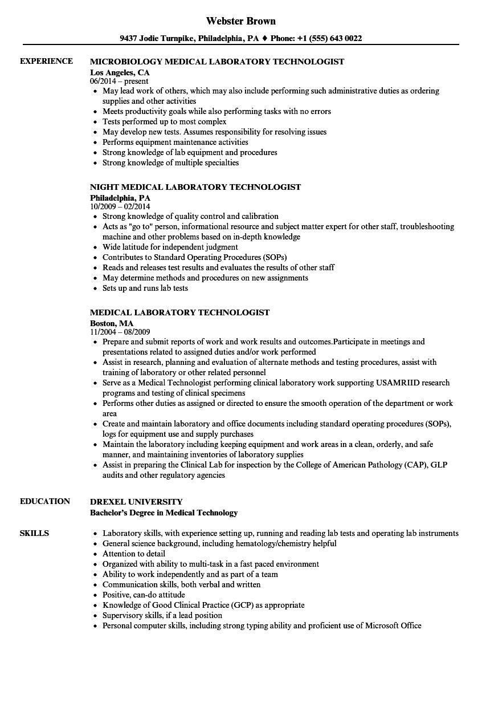 laboratory tech resume example