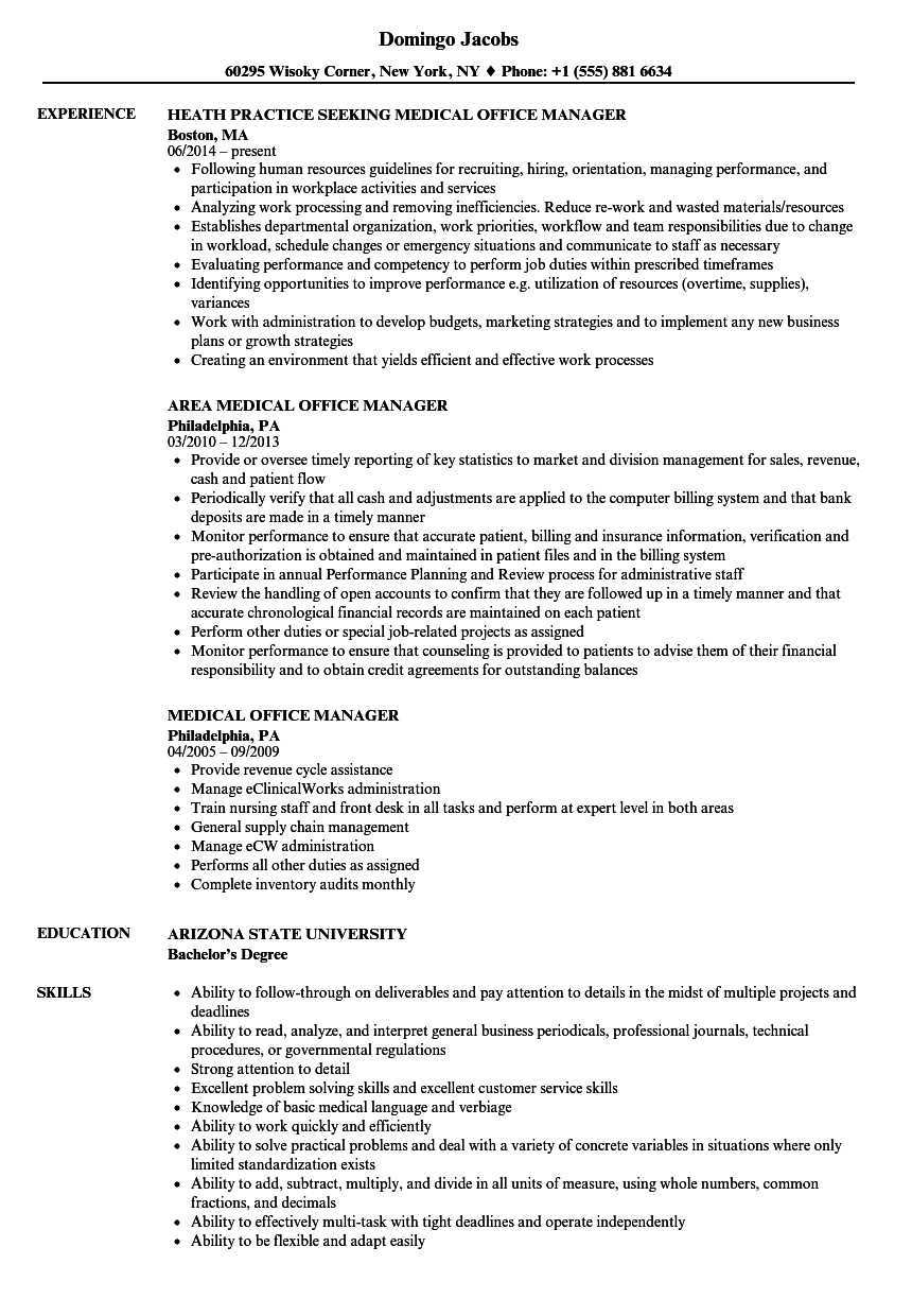 samples of medical office manager resume