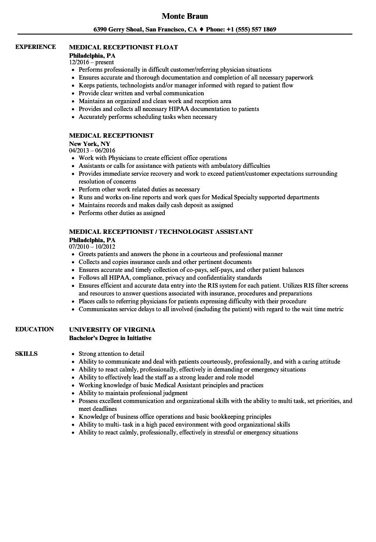 medical reception resume templates