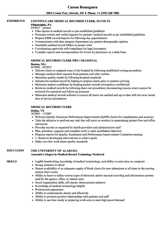 health clerk resume sample