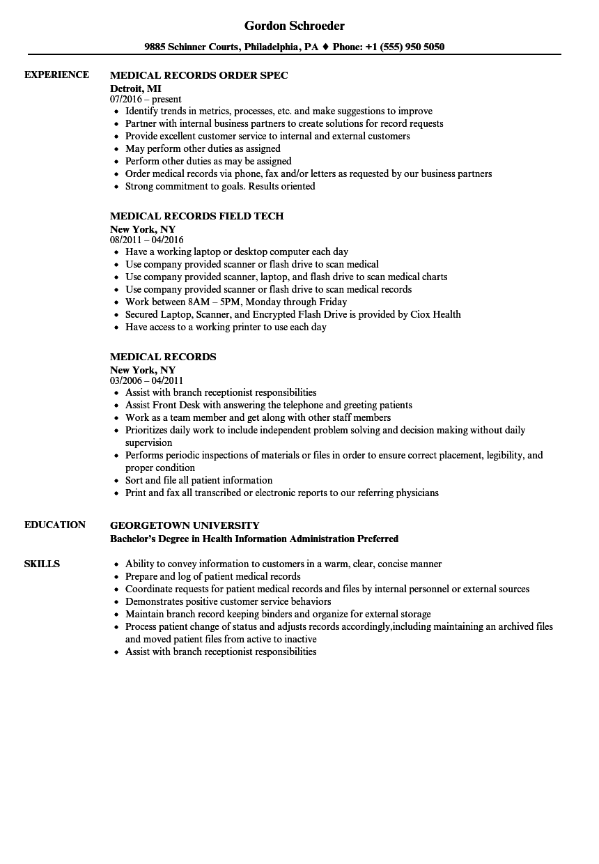 sample resume letter for medical records specialist