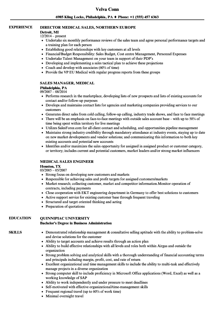 medical device sales rep resume examples